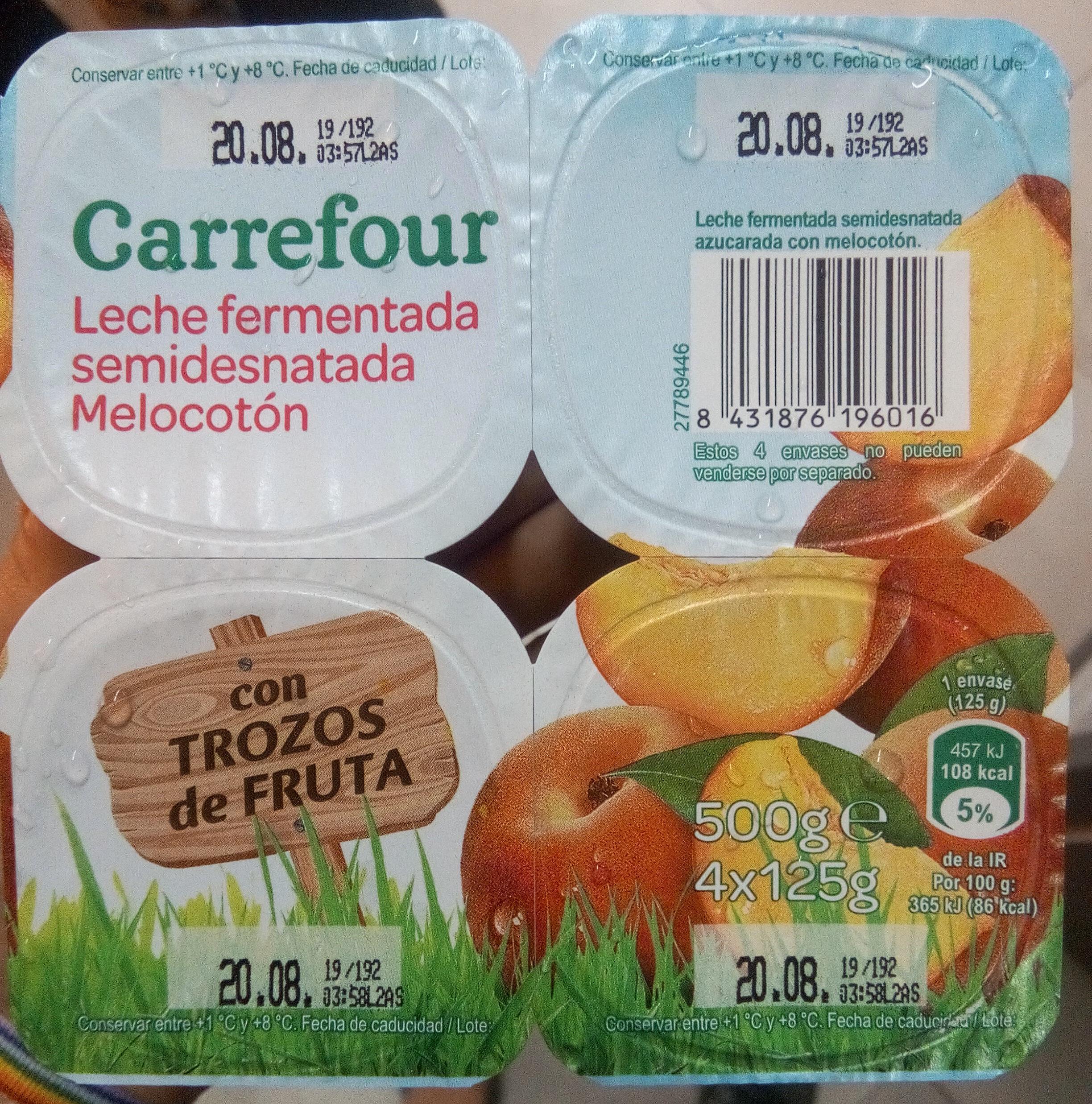 Leche fermentada semidesnatada Melocotón - Product
