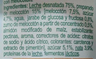 Leche fermentada semidesnatada Melocotón - Ingredients