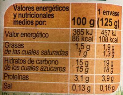 Leche fermentada semidesnatada Melocotón - Nutrition facts