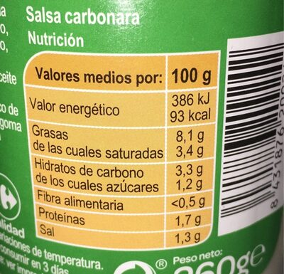 Salsa para pasta carbonara - Nutrition facts