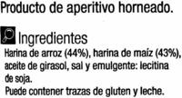 Tortitas de arroz y maíz - Ingredientes - es