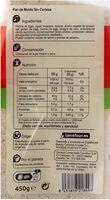 Pan de molde blanco sin corteza - Información nutricional - es