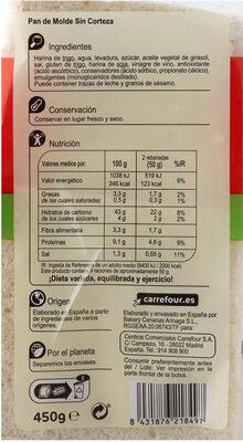 Pan de molde blanco sin corteza - Información nutricional