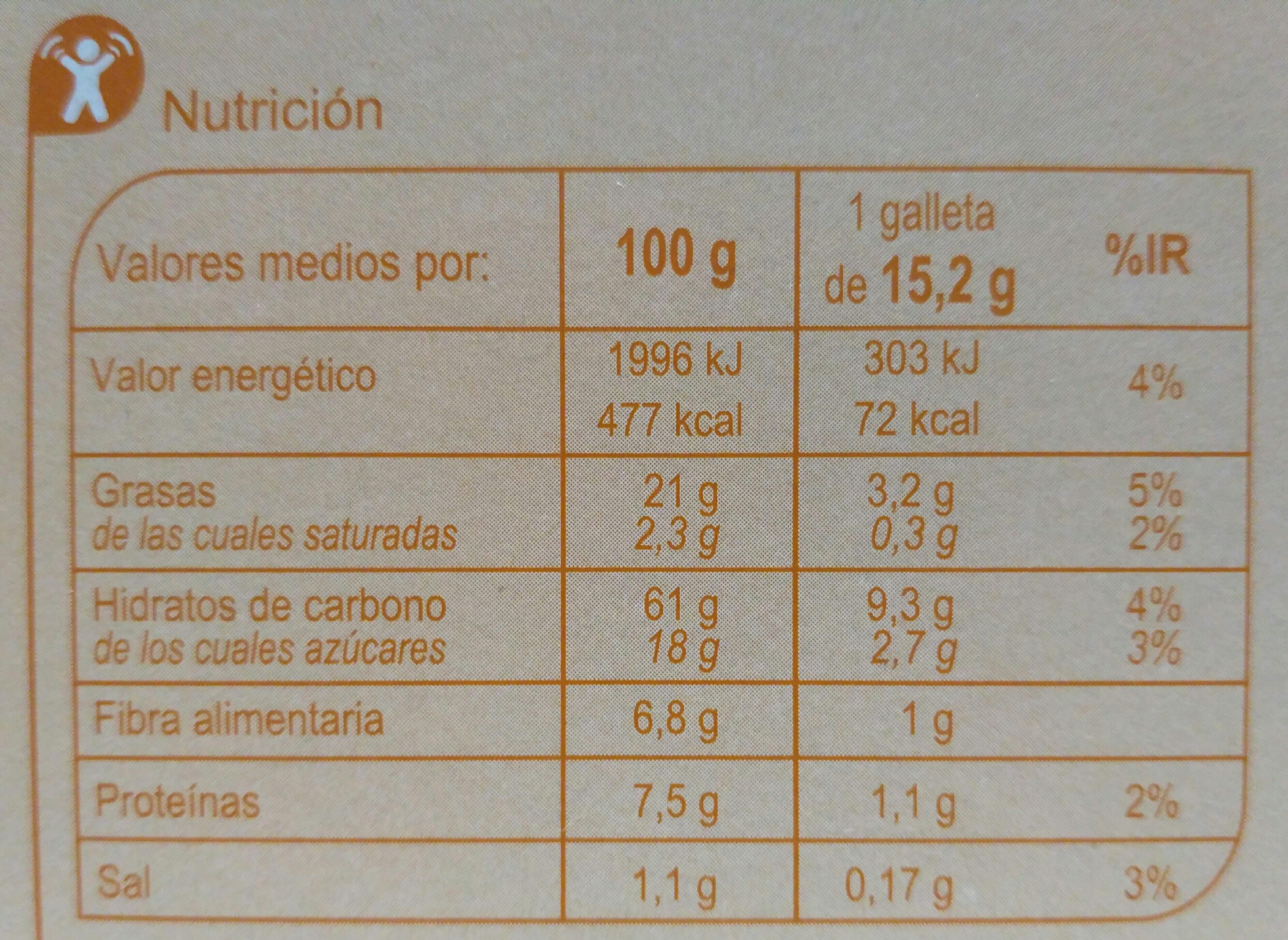 Galletas digestivo de avena - Nutrition facts - es