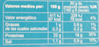 Langostino vannamei crudo 32/40 - Nutrition facts - es