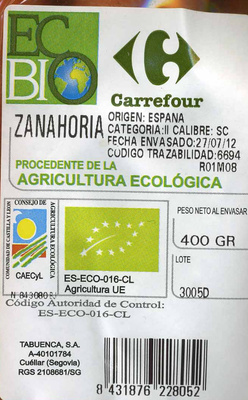 "Zanahorias ecológicas ""Carrefour Bio"" - Ingredientes"
