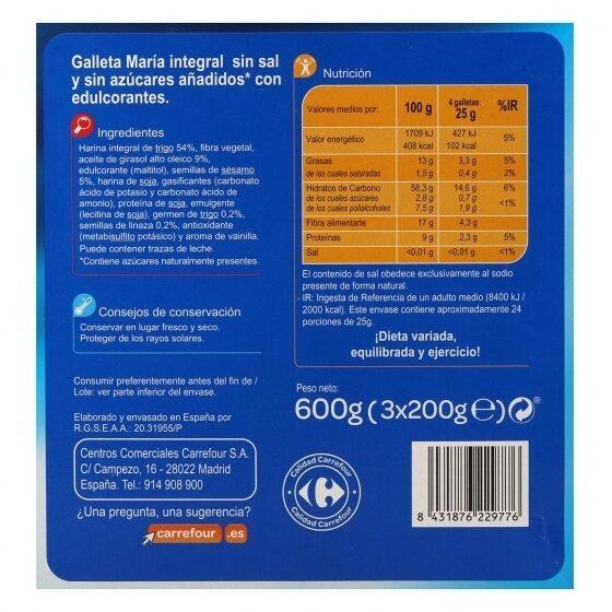 Galleta sin sal y sin azúcar - Informations nutritionnelles - es