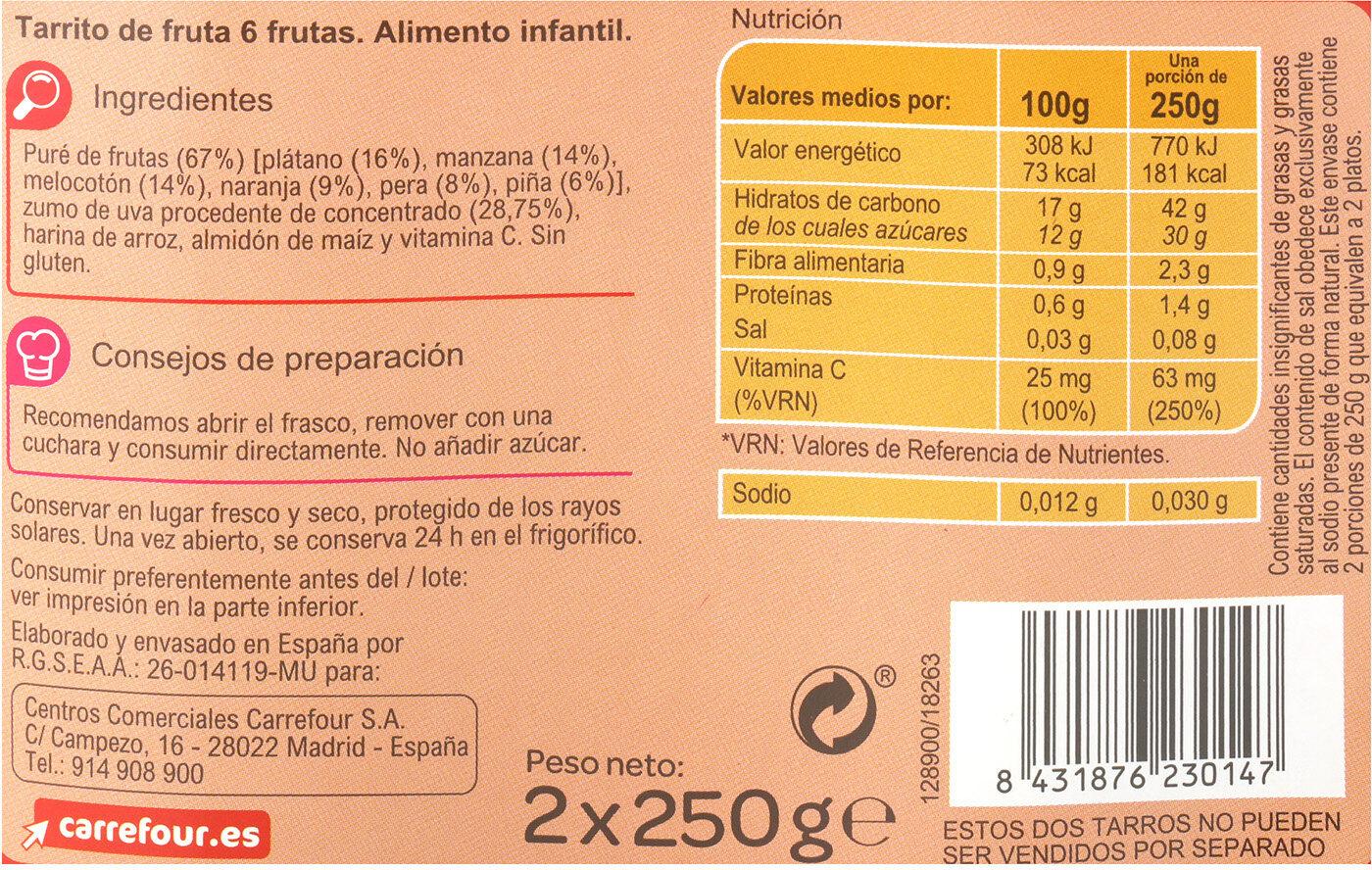 Tarrito 6 frutas - Información nutricional - es
