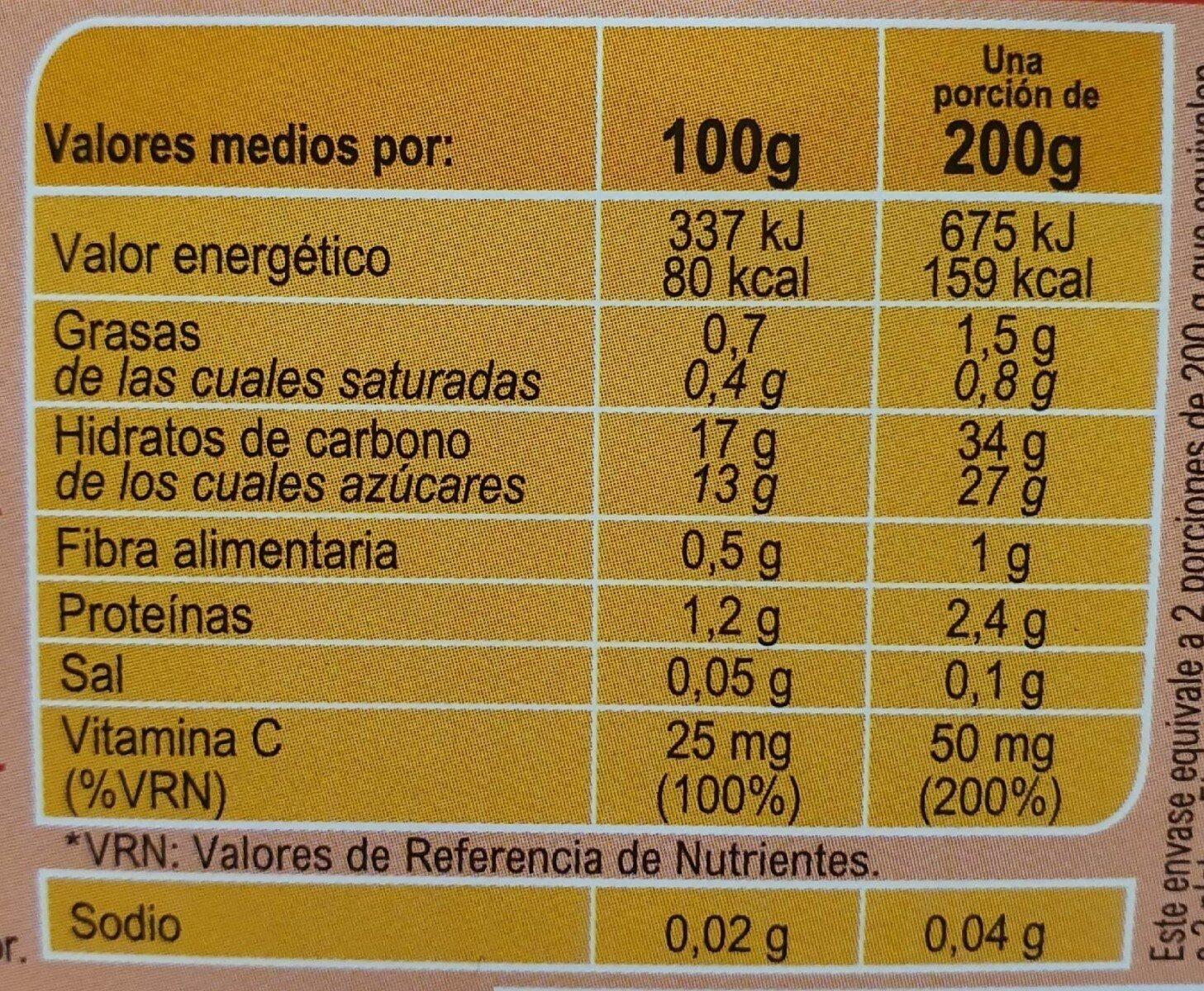 Tarrito plátano con yogurt - Información nutricional - es