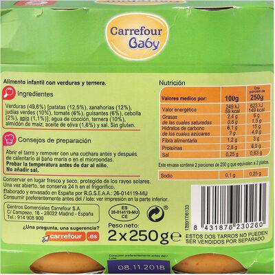 Tarrito jardinera con ternera - Informations nutritionnelles