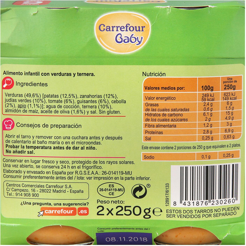 Tarrito jardinera con ternera - Informations nutritionnelles - es