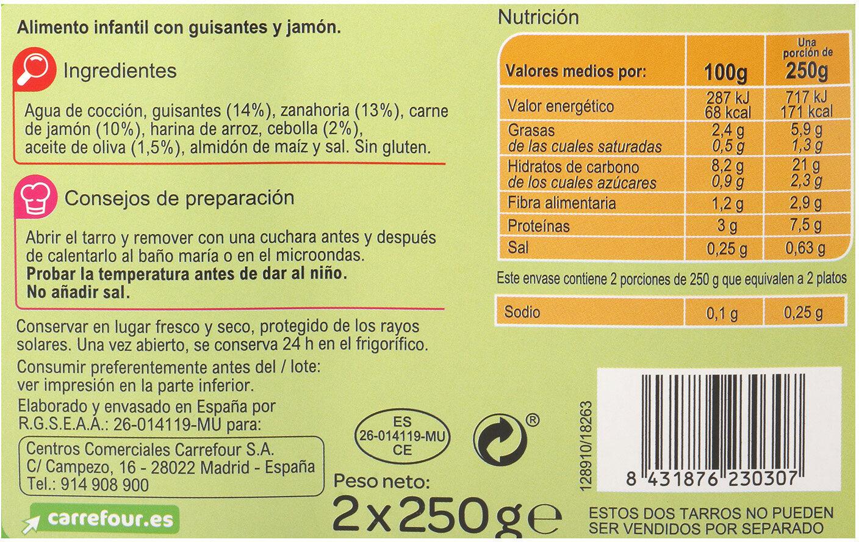 Tarrito guisante jamón - Informations nutritionnelles - es