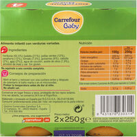 Tarritos verduras variadas - Informations nutritionnelles - es