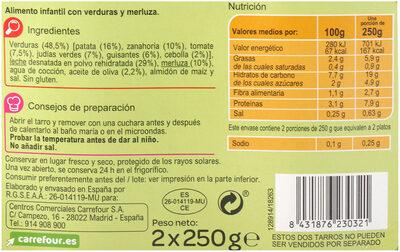 Tarrito verdura con merluza - Informations nutritionnelles