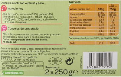 Tarrito verdura con pollo - Informations nutritionnelles - es