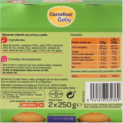 Tarrito arroz con pollo - Informations nutritionnelles - es