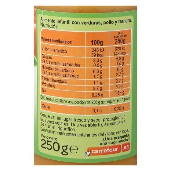 Tarrito verdura con pollo y ternera - Informations nutritionnelles - es