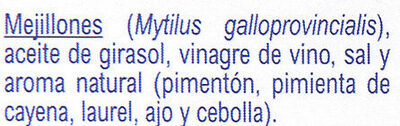 Moules - Ingredients - es