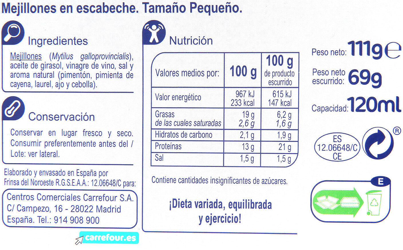 Moules - Nutrition facts - es