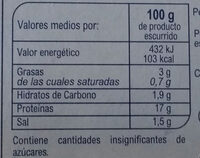 Mejillones al natural - Informació nutricional