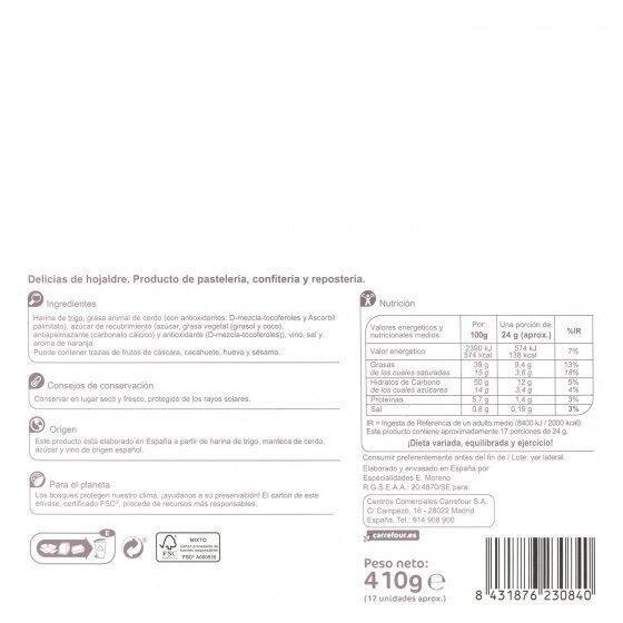 Delicias de hojaldre - Informació nutricional - es