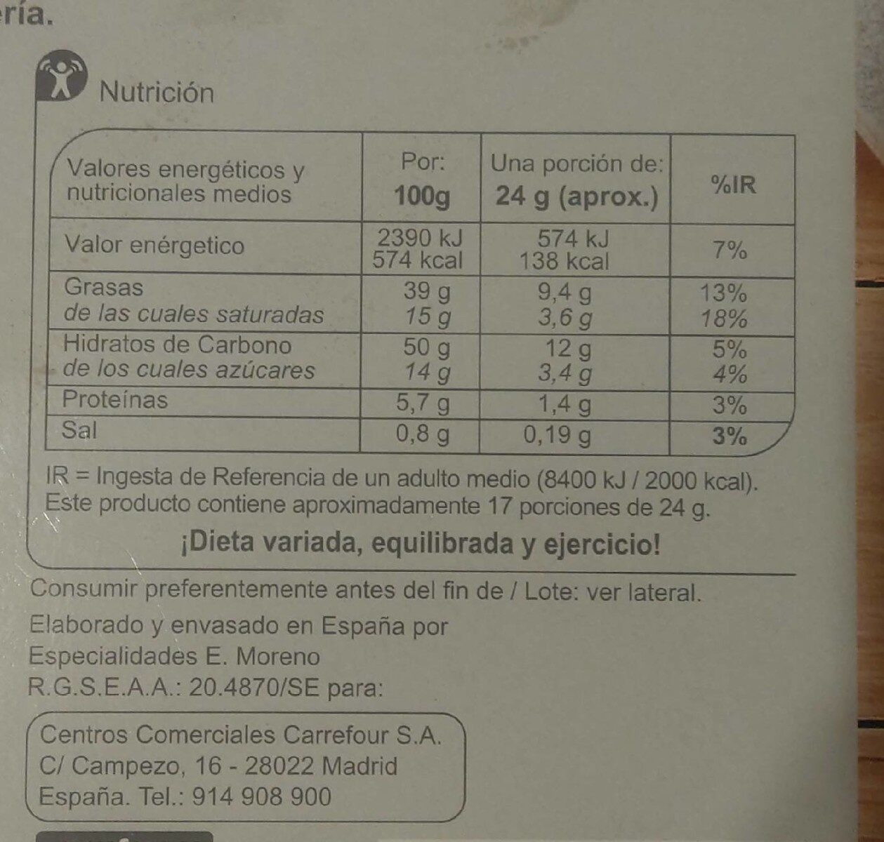 Delicias de hojaldre - Informations nutritionnelles