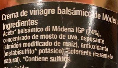 Creme vinaigre balsamique - Ingredientes