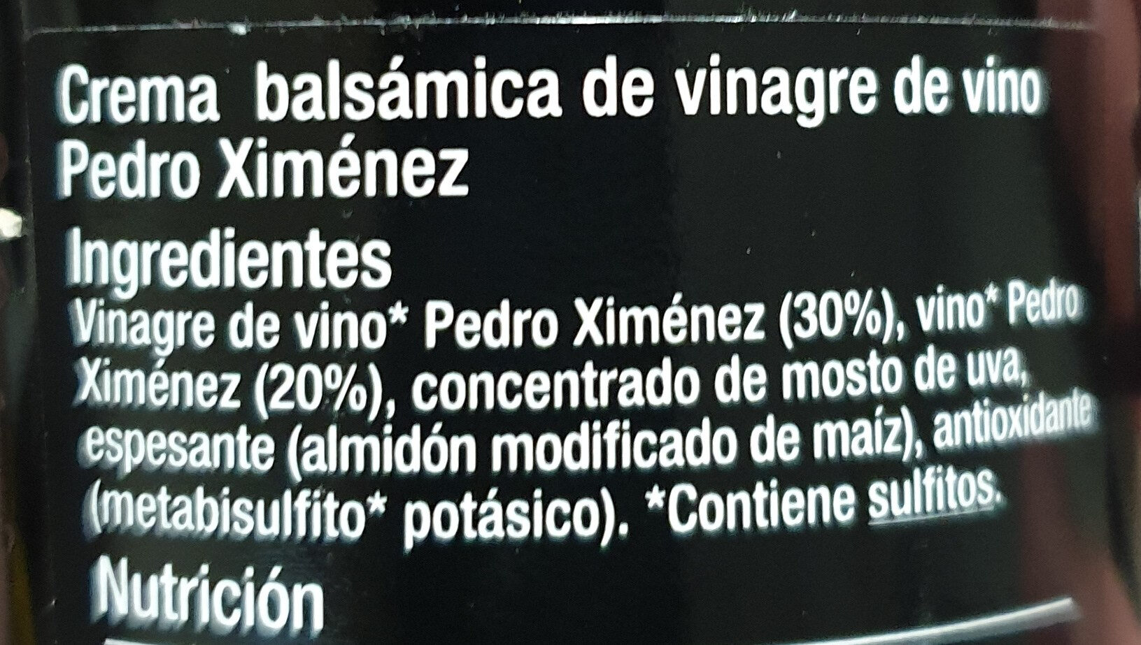 Glasé vinagre pximenez - Ingredients - es