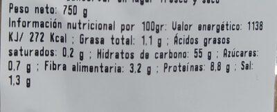Barra de pan - Información nutricional - es