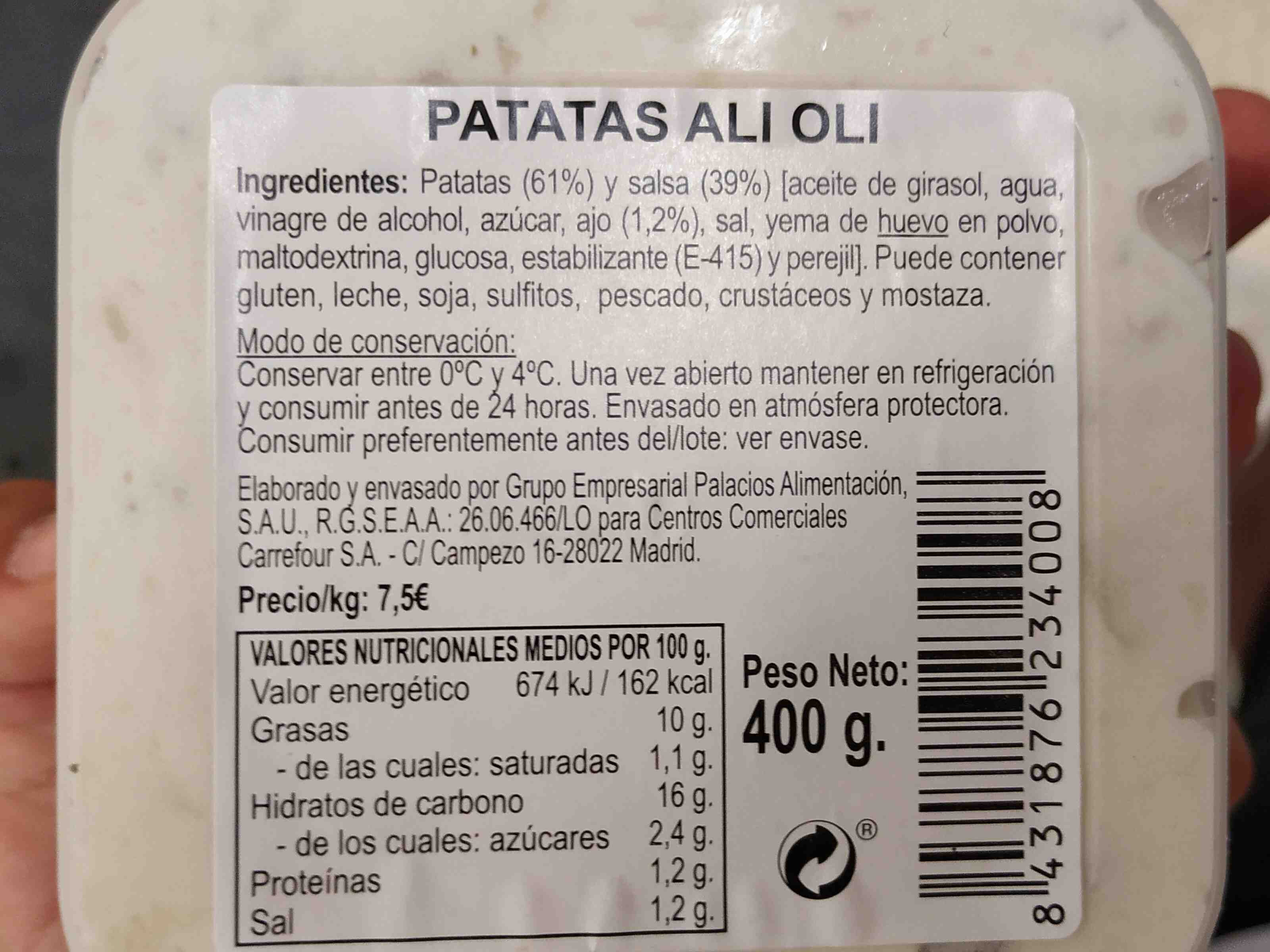 Patatas ali oli Carrefour - Ingredients