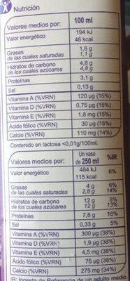 Leche sin lactosa semidesnatada - Valori nutrizionali - es