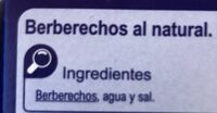 Berberechos al natural - Ingredientes