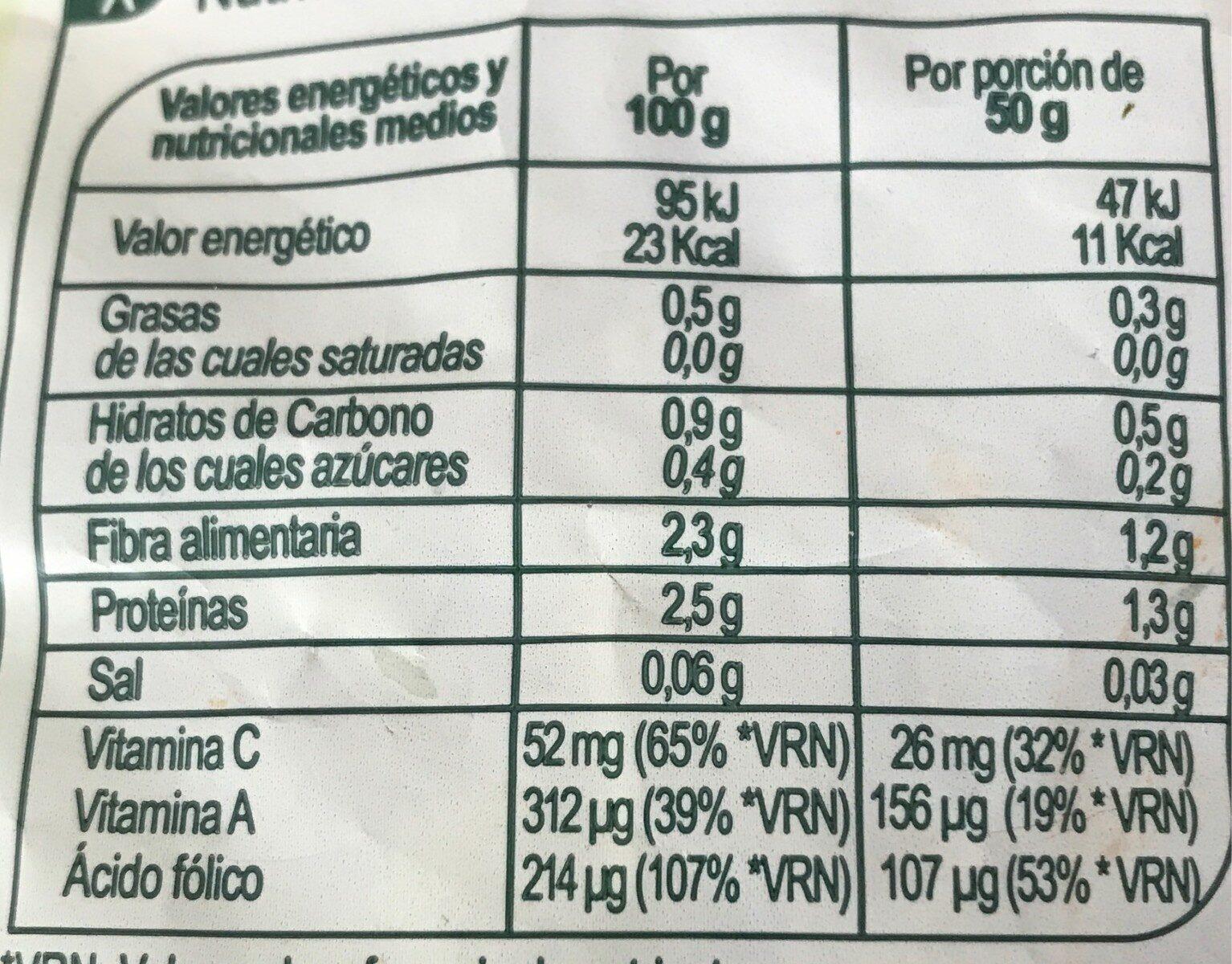 Rúcula - Informations nutritionnelles - es