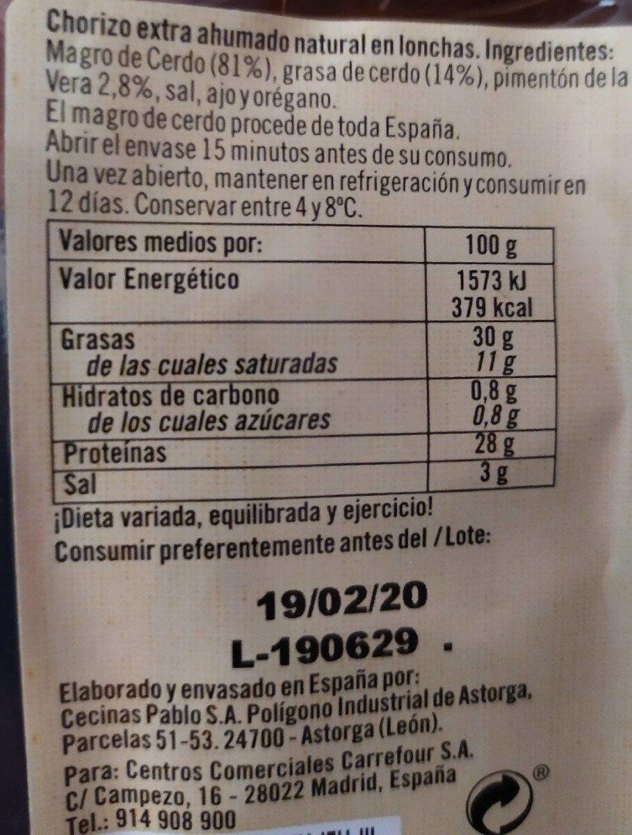 Chorizo extra de León picante - Información nutricional
