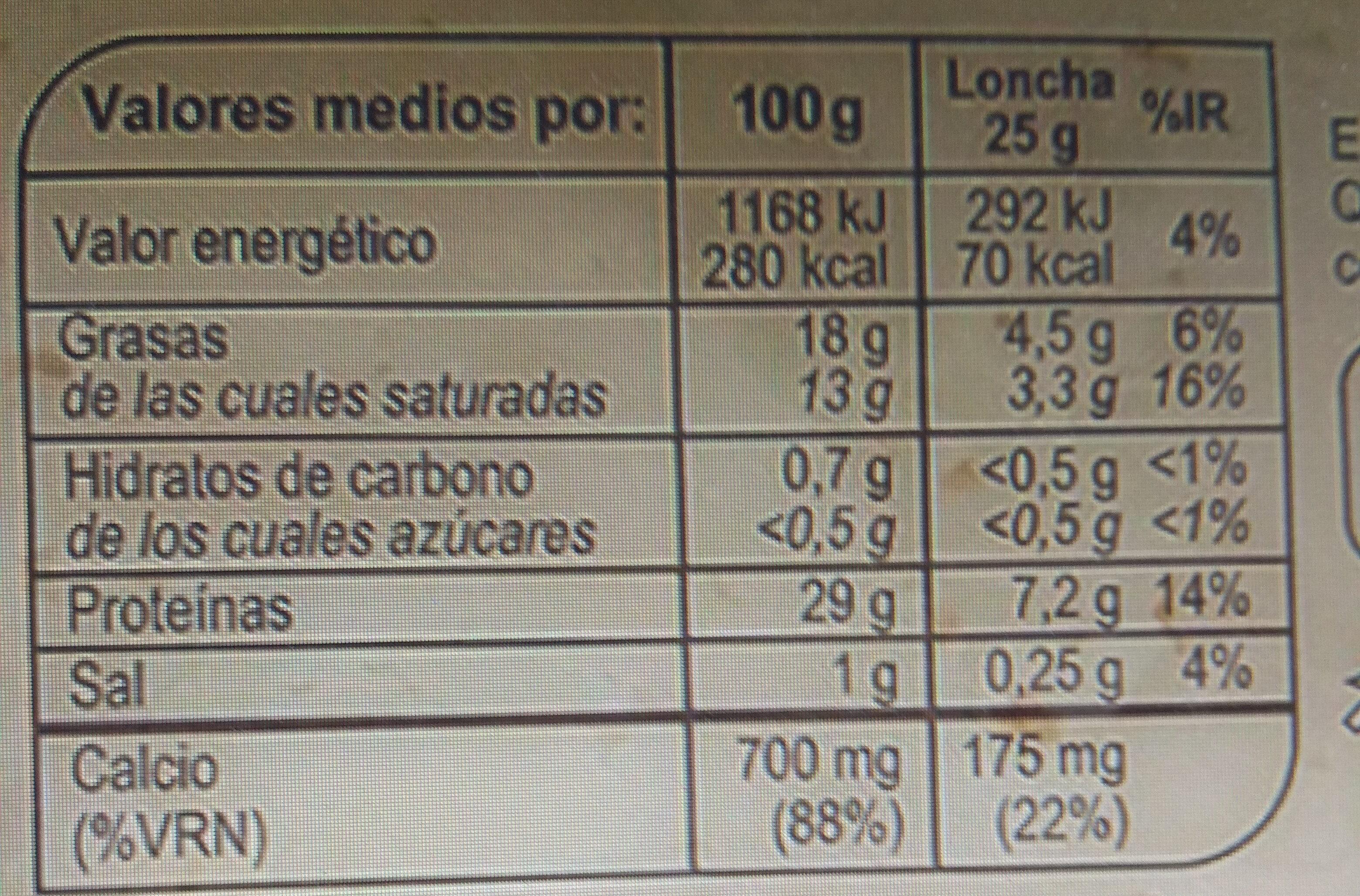 Queso tierno light - Informació nutricional