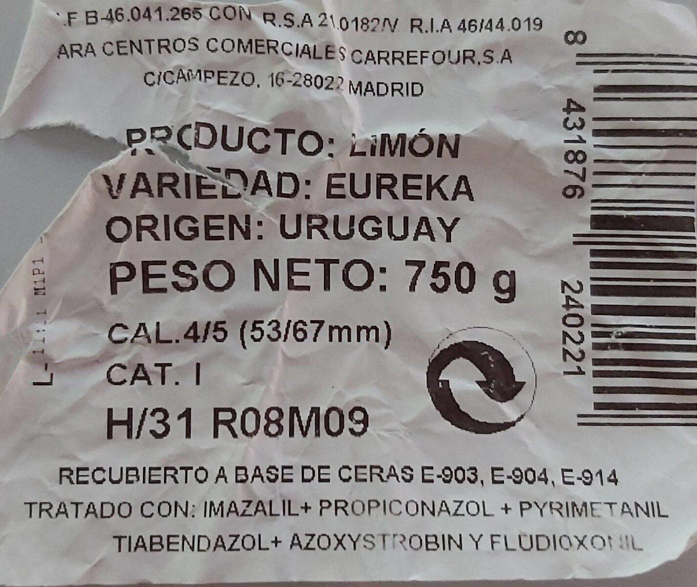 Limón - Informations nutritionnelles