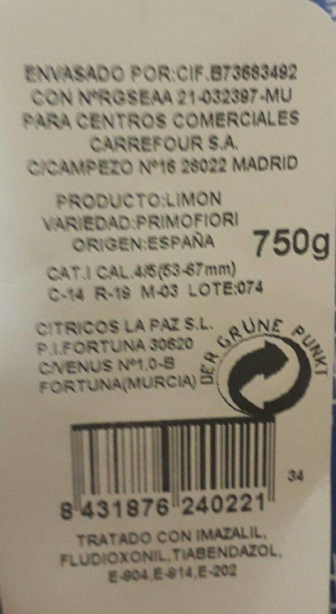 Limon primofiori - Voedingswaarden