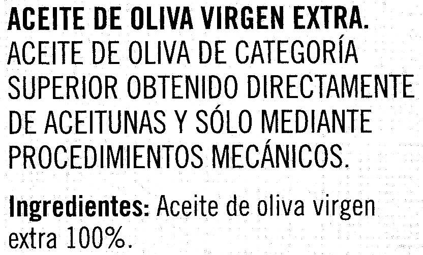 Aceite de oliva virgen extra Origen Sierra Mágina Variedad Picual - Ingredientes