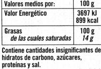 Aceite de oliva virgen extra Origen Sierra Mágina Variedad Picual - Información nutricional