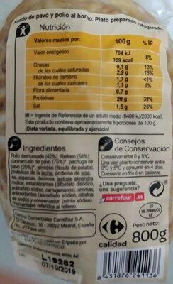Asado de Pavo y Pollo - Información nutricional - es
