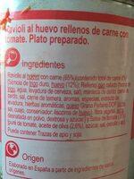 Raviolis Al Huevo Rellenos De Carne - Ingrédients - fr