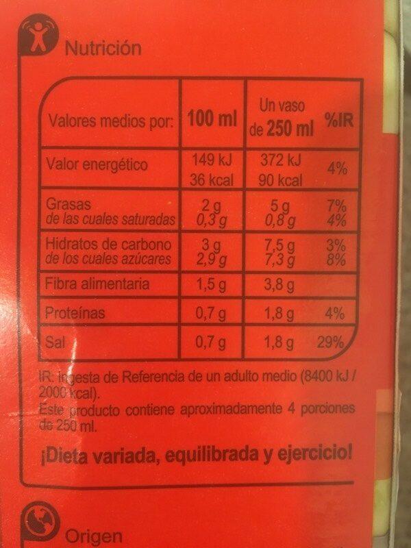 Gazpacho Normal - Información nutricional - es