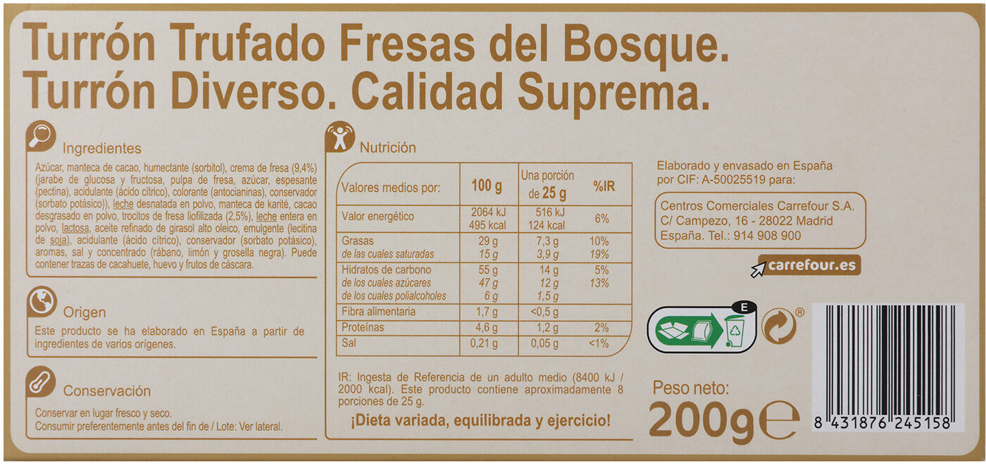 Turrón chocolate con fresas del bosque - Información nutricional - es
