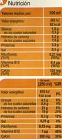 Bebida de soja calcio vainilla - Informations nutritionnelles - es