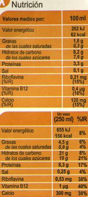 Bebida de soja con calcio sabor vainilla - Nutrition facts - es