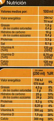 Bebida de soja calcio chocolate - Informations nutritionnelles - es