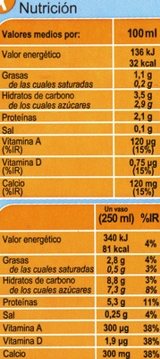 Bebida de soja calcio ligera - Informations nutritionnelles - es