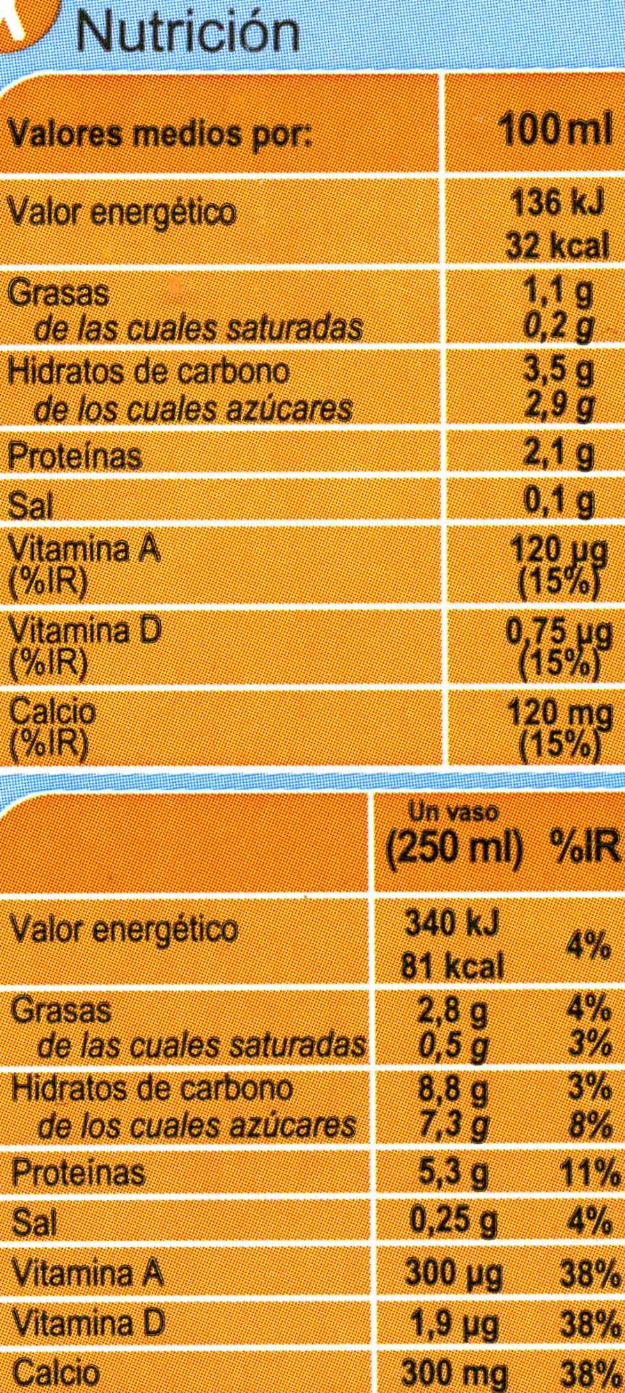 Bebida de soja ligera - Informations nutritionnelles
