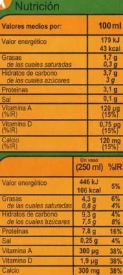 Soja calcio - Información nutricional
