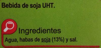 Bebida de soja sin azúcares añadidos - Ingredientes - es